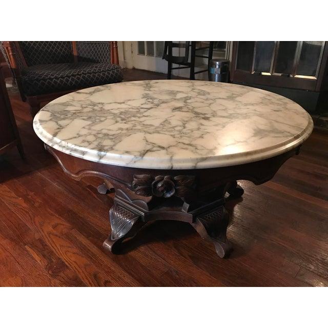 Marble Coffee Table Heavy: Vintage Marbletop Carved Wood Coffee Table