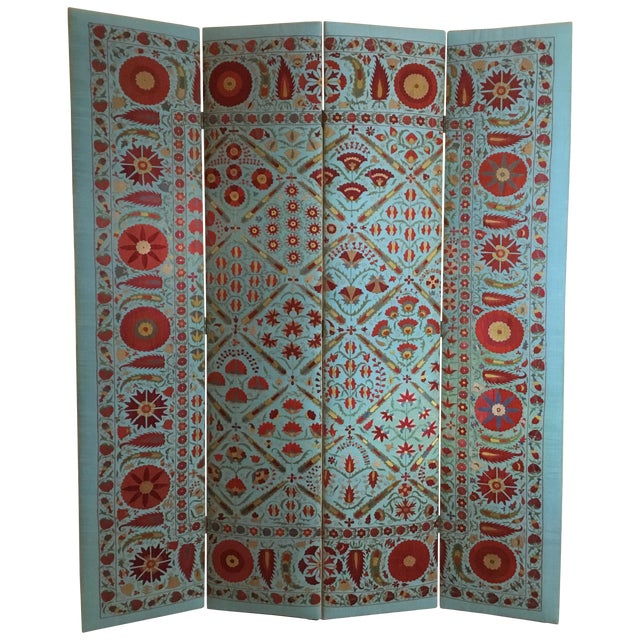 Vintage Hand Embroidery Suzani Screen For Sale