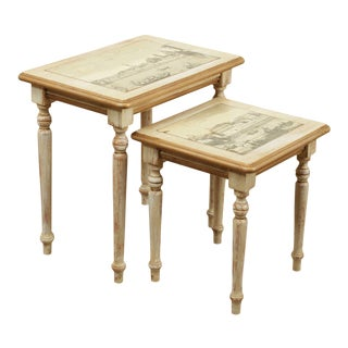 Italian Painted, Scenic Decoupage Nesting Side Tables - a Pair For Sale