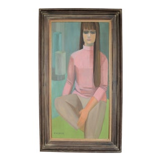 1960s Vintage Mid Century Modern Oil Painting on Canvas With Cerused Walnut Frame --Figural Art Deco Boho Chic Bohemian For Sale