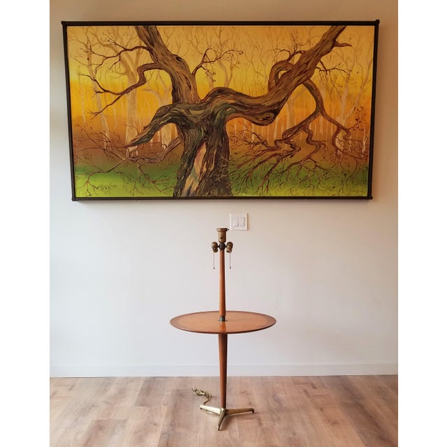 Mid-Century Modern Rewired 1940s Edward Wormley Snack Table/Floor Lamp for Dunbar For Sale - Image 3 of 11