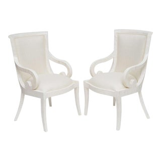 Pair of Tessellated Bone Armchairs With Silk Upholstery For Sale