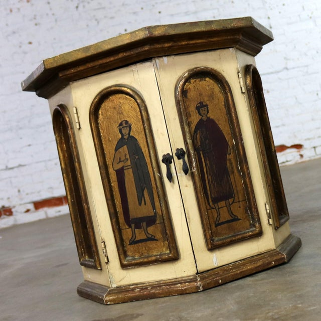 Vintage Hand Painted Octagon Drum Side Table Cabinet Attributed to Arte De Mexico For Sale - Image 4 of 13