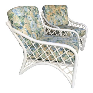 Vintage Coastal Criss Cross Rattan Lounge Chairs-A Pair For Sale