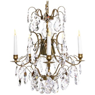 Baroque Chandelier, 5 Cognac Almond For Sale