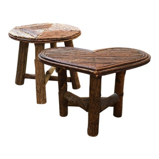 Rustic Twig Side Tables - A Pair For Sale