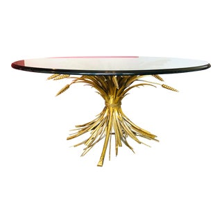 Hollywood Regency Wheat Sheaf Coffee Table With Round Glass Top For Sale