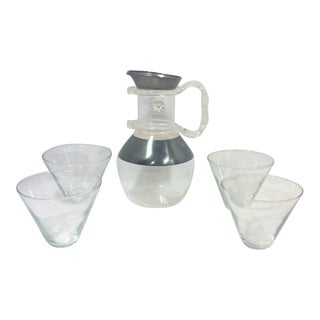 Dorothy Thorpe Lucite Handled Carafe Pitcher and Martini Glasses-Set of Five For Sale