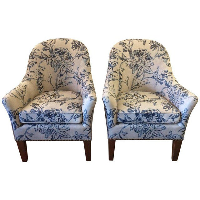 Blue & White Linen Club Chairs - A Pair - Image 7 of 7