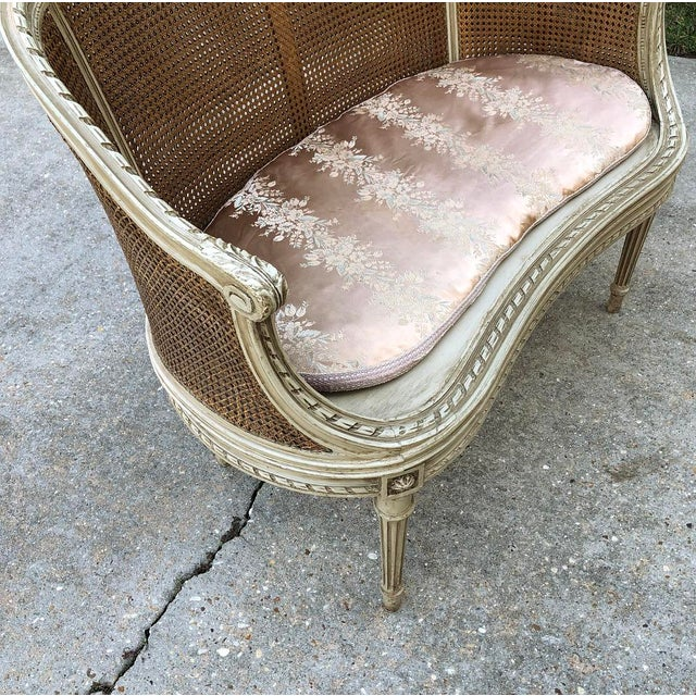 Wood 19th Century French Louis XVI Painted Canape For Sale - Image 7 of 12