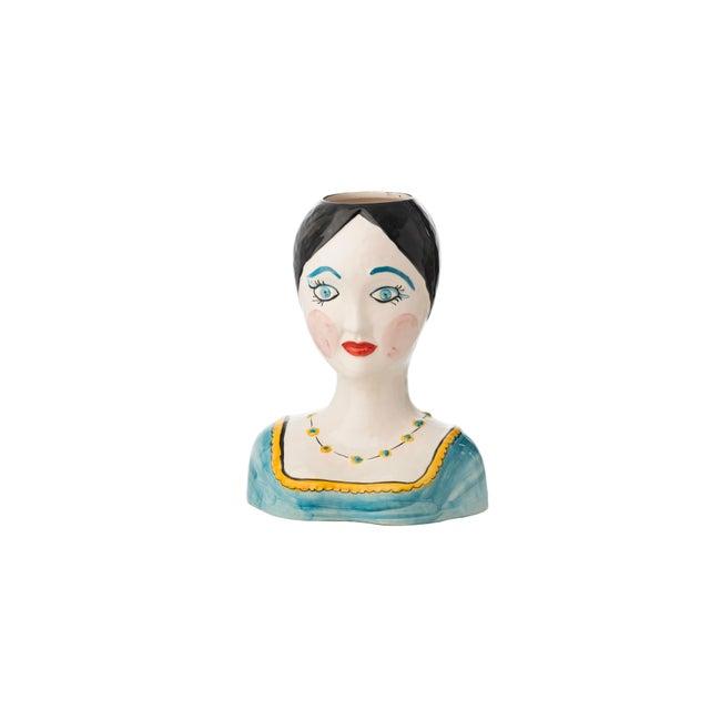 Boho Chic Evangeline Painted Head Vase For Sale - Image 3 of 3