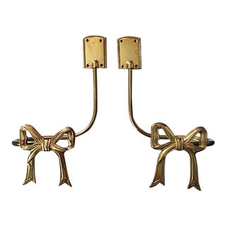 20th Century Hollywood Regency Brass Bow Drapery Wall Hooks - a Pair