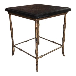 Mid 20th Century Faux Bamboo & Black Stone Accent Table For Sale