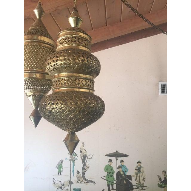 Mid-Century Triple Pendant Brass Chandelier - Image 5 of 5