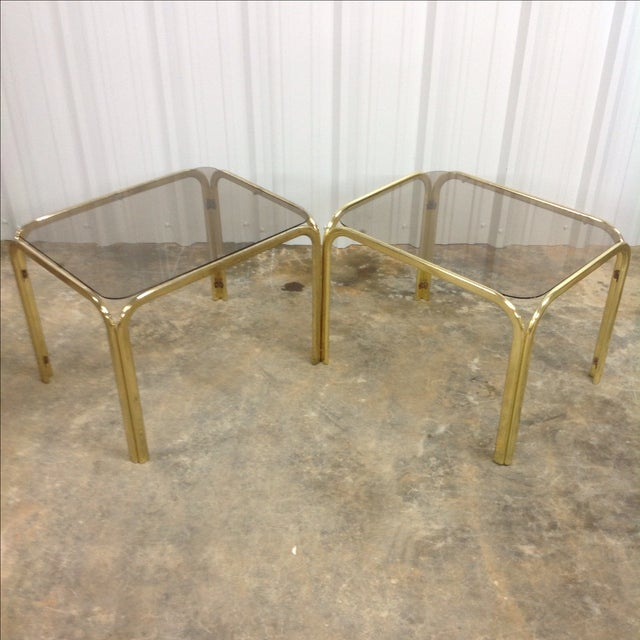 Regency Brass & Glass Waterfall Tables - A Pair - Image 2 of 5