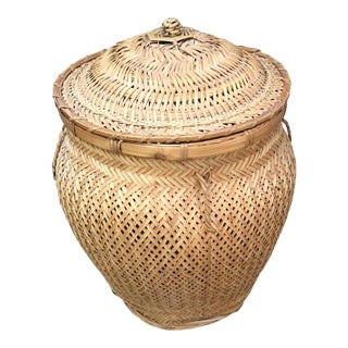 Vintage Chinese Split Bamboo Rattan Snake Charmer Basket For Sale