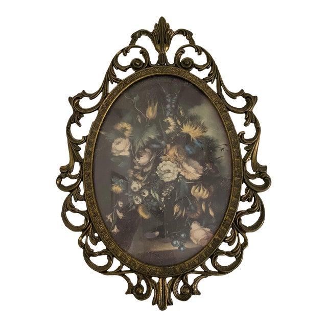 Mid 20th Century Italian Print of Flowers, Framed For Sale