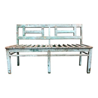 Early Green-Painted Folk Art Wooden Bench For Sale
