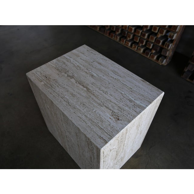 Angelo Mangiarotti Travertine Pedestal or Side Table, Circa 1975 For Sale - Image 4 of 12