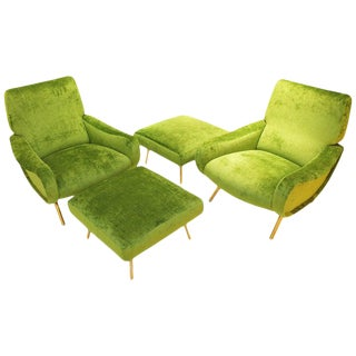 Pair of 'Lady' Armchairs and Ottoman by Marco Zanuso for Arflex, Italy, 1951 For Sale