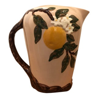 Vintage Hand Decorated Orange Blossom Pitcher by Orchard Dinnerware For Sale