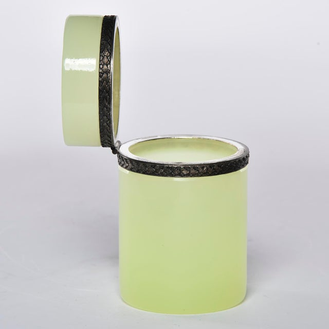 French Opaline Uranium Glass Cylindrical Hinged Box For Sale - Image 4 of 8