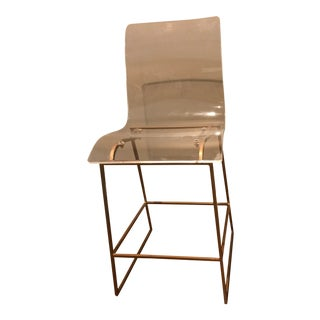 Gold and Acrylic Bar Stool For Sale