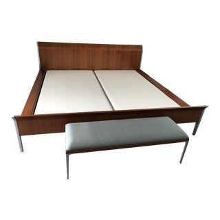"Modern ""Cassina"" Cherry Wood Bed & Bench For Sale"