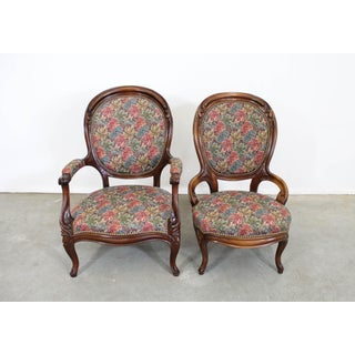 Pair of Victorian Parlor Set Ladies & Gentleman Chairs Preview
