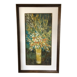 Large Mid Century Floral Oil Painting For Sale