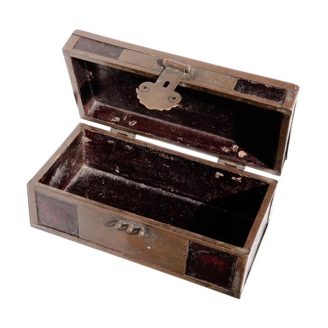 Metal Late 19th Century Chinese Brass and Lacquered Wood Storage Box For Sale - Image 7 of 9