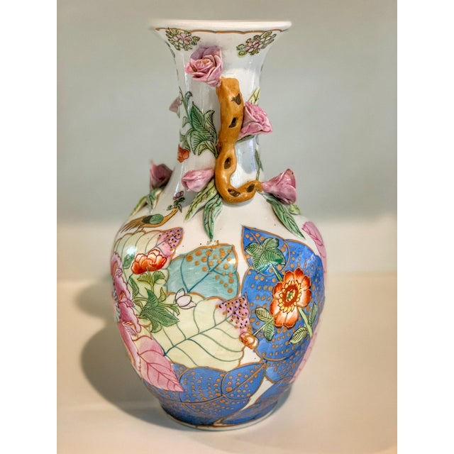 Asian Tobacco Leaf Vase With Applied Flowers For Sale - Image 3 of 8