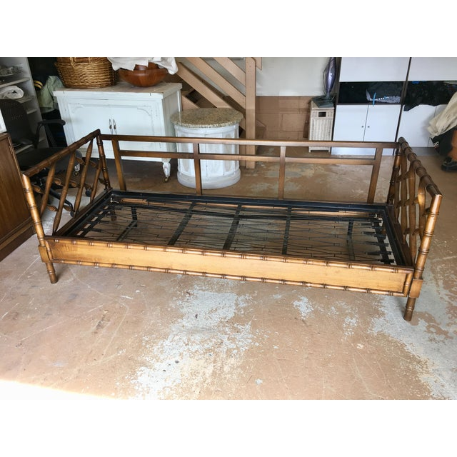 Brown 1970s Boho Chic Rollout Faux Bamboo Twin Trundle Bedframe For Sale - Image 8 of 13