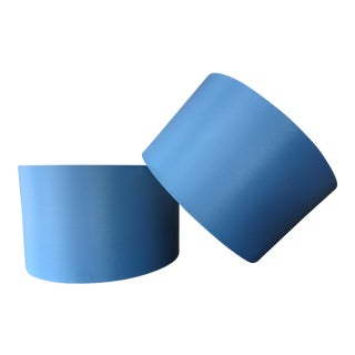 Contemporary Blue Drum Lampshades - A Pair
