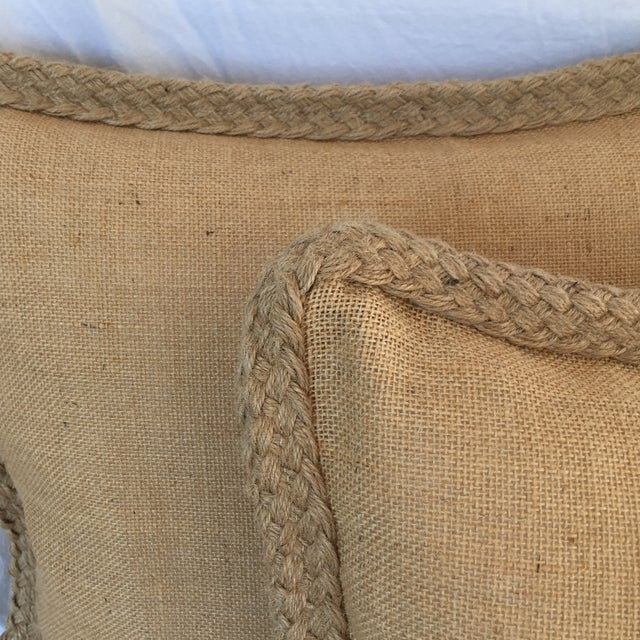 Braided Burlap Pillows - A Pair - Image 3 of 4