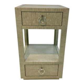 Bungalow 5 Modern Moss Lacquered Grasscloth Camilla Two Drawer Side Table For Sale