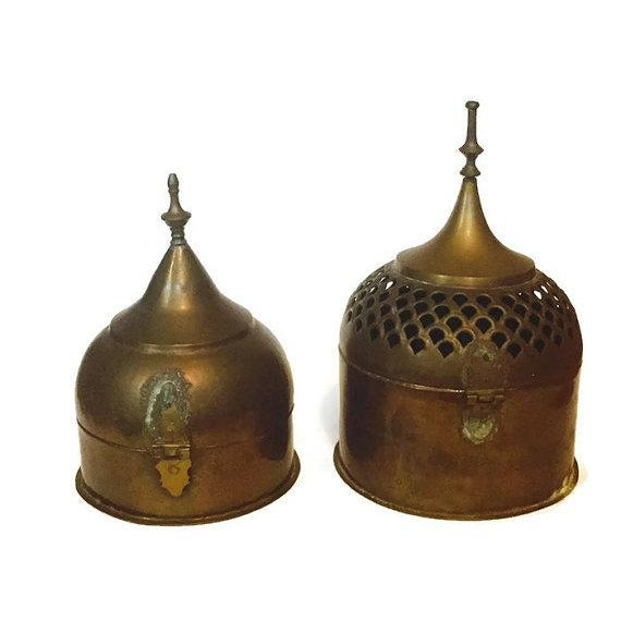 Vintage Brass Cricket Boxes Buddhist Stupa Storage Boxes - a Pair For Sale - Image 9 of 10