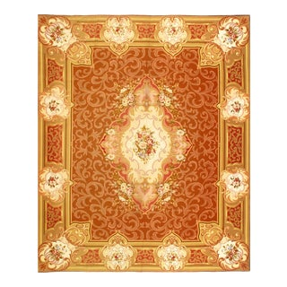 Light Brwon Fine Hand Knotted Abusson Rug 8' X 9'9'' For Sale