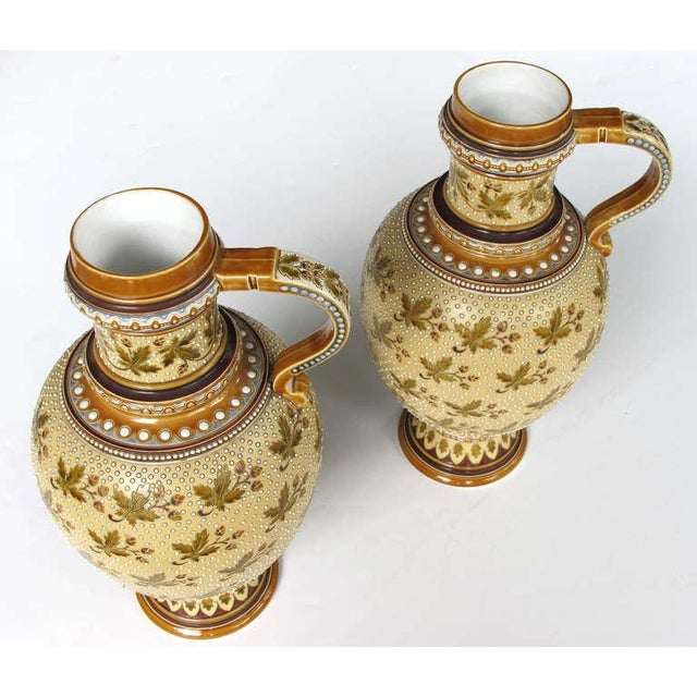 Yellow Good Quality Pair of German Mettlach Pottery Ewers With Impressed Maker's Mark For Sale - Image 8 of 8