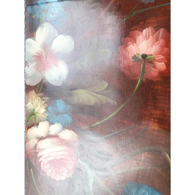 Antique Handpainted Floral Wood Room Divider For Sale In Portland, OR - Image 6 of 9