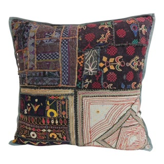 Vintage Large Colorful Indian Floor Decorative Pillow For Sale