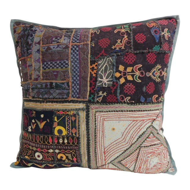 Vintage Large Colorful Indian Floor Decorative Pillow For Sale