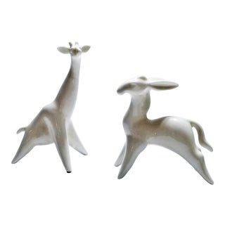 Vintage White Porcelain Firaffe and Gazelle Sculpture Figurines For Sale