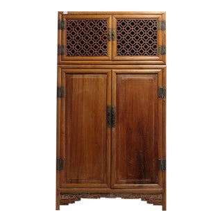 Antique Large Kitchen Cabinet Armoire with Fretwork Top from 19th Century, China