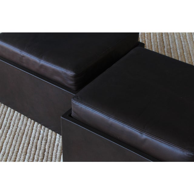 Animal Skin Pair of Leather Wrapped Ottomans, 1970s For Sale - Image 7 of 10
