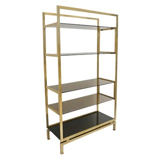 Brass and Glass Etagere by Guy Le Fevre For Sale