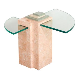 Vintage Postmodern Geometric Pink Marble & Glass Memphis Style Side Table For Sale