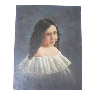 Antique Portrait of a Girl, Unsigned For Sale