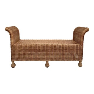 Vintage Mid Century Wicker Bench For Sale