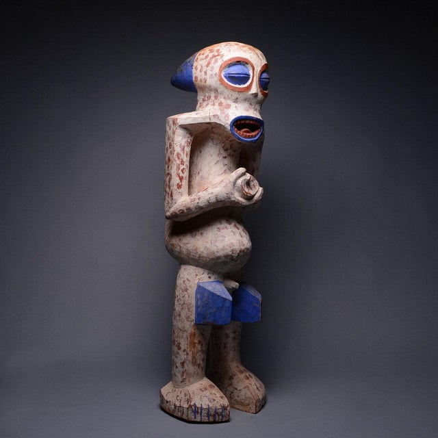 This colourful and demonic-looking polychrome figure was made by bangwa group of the cameroonian grasslands. It comprises...